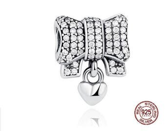Pave HEART and BOW Charm Clear Cubic Zirconia, 100% Real 925 Sterling Silver, Fit Famous Pandora Snake Chain Charm Bracelet, DIY Jewelry