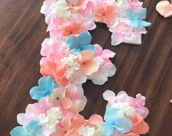 decorative letters; wall letters; decorative wall letter; yarn letters; flower letters