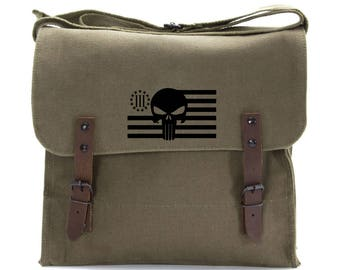 Three Percenter Punisher Skull Army Heavyweight Canvas Medic Shoulder Bag Vintage Military Surplus Style Bag