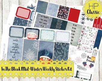 Classic Happy Planner Sticker Kit - In the Bleak Mid-Winter Weekly Sticker Kit | Snowflakes Winter Hot Chocolate (CHP)