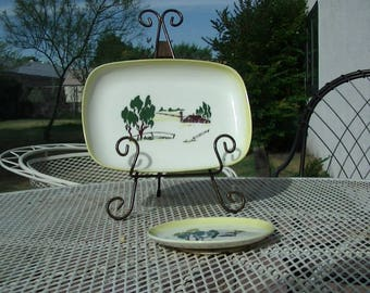 Brock Pottery  Faded Yellow Trimed Farmhouse Plater and Serving Plate