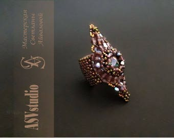 """Large ring """"Princess"""" from beads with Swarovski"""