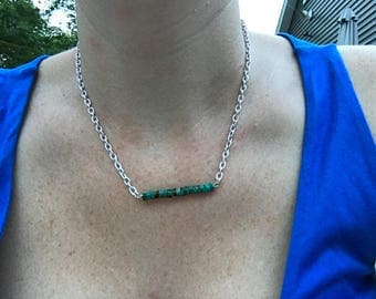 Turquoise and stainless steel necklace