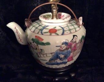 Vintage Asian, Oriental Accent Teapot Lamp