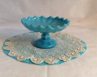 RARE Antique Turquoise Blue Opaque Mini Pedestal or small Compote ,Dish made by Dithridge&CO.