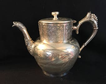 Vintage Victorian ornate triple plated silver teapot