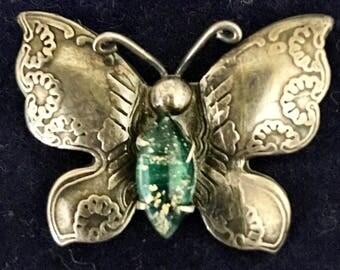 Vintage 1920's Silver Butterfly Brooch