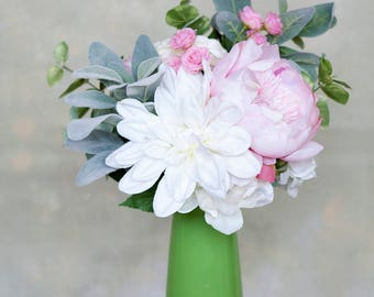 Peony Bouquet, Pink and White Bouquet, Pink Bouquet, Lamb's Ear Bouquet, Silk Bouquet, Wedding Bouquet, Silk Bridal Bouquet, Bridal Bouquet