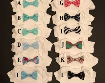Baby Bodysuit with Custom Snap-On Bow Tie; Infant Onesie with Snap-On Bow Tie; Infant Bodysuit & Bow Tie Set; Onesie with Bow Tie