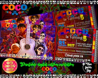 Coco Printable digital invitation, coco miguel personalized invite ,death day party , coco ,dia de los muertos,Birthday,Party, Pack, Custom