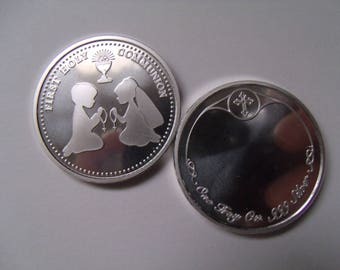 Engravable First Holy Communion Gift 1 oz Fine 999 Silver  Custom Minted First Holy Communion Coin. Free Cstom Engraving