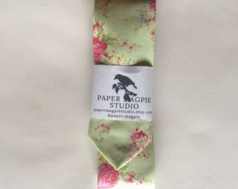 KIMBALL // Handmade skinny cotton necktie by Paper Magpie Studio // green and pink floral