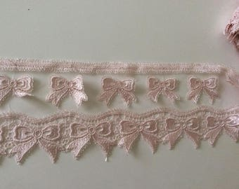 Rose applique lace tulle and guipure old 10 cm wide