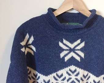 Vintage Wool Snowflake Sweater / Roots Canada
