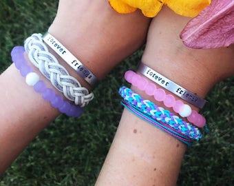 Hand Stamped Personalized Cuff Bracelet, Stamped Custom Bar Bracelet
