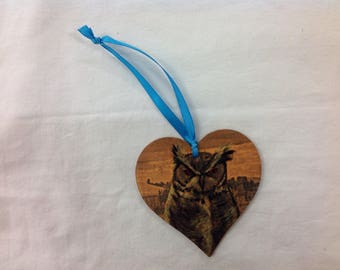 OSca the canadian great horned owl heart decoration