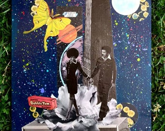 "Chicago/Love/Cosmos~Mixed Media Collage Art 8""x12"""