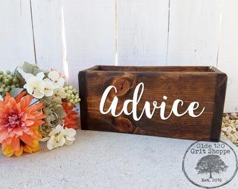 Rustic Wedding Advice Box | Wedding advice Holder | Wedding Advice Notes| Wood Advice Box | Rustic Advice box | Well Wishes Box | Advice