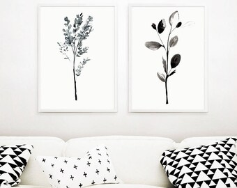 Set of two botanical prints,black&white botanical prints,scandinavian prints,set of 2 art prints,printable art,instant download,nature print