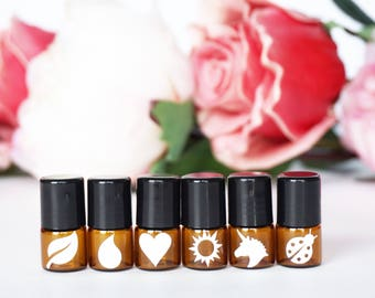 1ml Mini Essential Oil Roller Bottles - Amber or Clear Colored Bottles - 30 Color Options