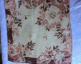 30s 40s vintage silk crepe lady's hankie. Soft cream, caramel and dark brown floral design. IMPERFECT.