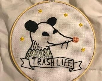 Trash Life Low Brow Opossum Embroidery Hoop Art