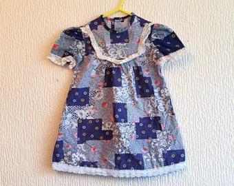 Vintage 1970s Blue Floral Cotton Patchwork Checked  Smock Dress 2-3y