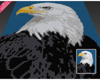 Eagle Portrait crochet blanket pattern; knitting, cross stitch graph; pdf download; written counts, C2C row-by-row counts included
