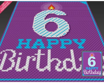 Happy Birthday 6 crochet blanket pattern; knitting, cross stitch graph; pdf download; no written counts or row-by-row instructions