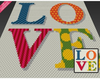Colorful Love crochet blanket pattern; c2c, cross stitch; graph; pdf download; no written counts or row-by-row instructions