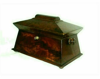 Antique Victorian Tea Caddy Flame Mahogany Sarcophagus Design with Bowl (696)