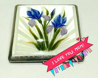 Vintage Mappin and Webb Sterling Silver Square Enamel Compact c1950 (2776)
