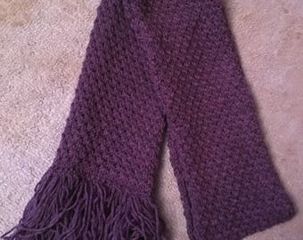 Handmade Knitted Childs Purple Scarf