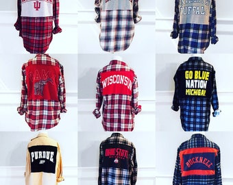 """Order your own- College logo flannel shirts. Custom. Contact me by using the """"Ask a question"""" icon right below this message."""