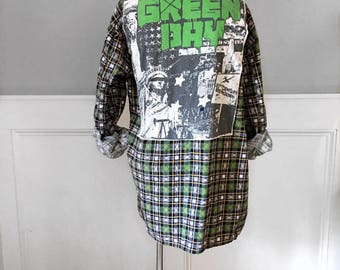 Green Day Flannel Tee  vintage 1990's green print soft flannel shirt Green day concert t shirt men's size L unisex