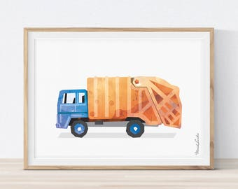 Garbage Truck Wall Art, Garbage Truck Decor, Toddlers Prints, Garbage Truck Birthday, Transportation Wall Art, Big Boy Room Decor, Printable