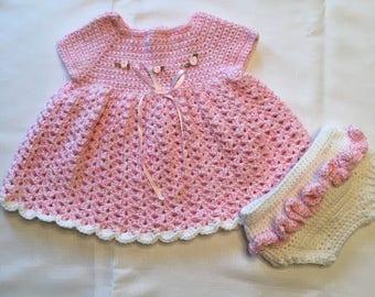 Handmade Baby Girl Dress and Diaper Cover
