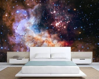 Galaxy wallpaper, wall mural stars, nebula wallpaper, star wallpaper, universe wallpaper, peel and stick, universe ceiling, ceiling wall