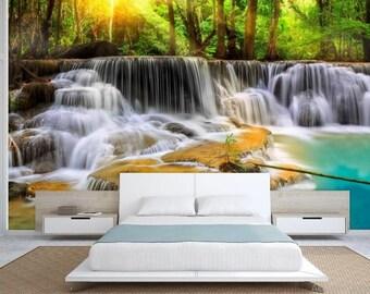 Waterfall wallpaper, river wallpaper, green river, forest  waterfall mural, water wall mural, self-adhesive vinly, waterfall wall decal,