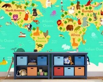 kids world map wall mural, children world map, wallpaper kids world map, map decal, world map wall mural, education wall , children map