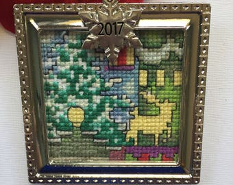 Cross stitch Christmas ornament, completed cross stitch, framed ornament, finished North Pole, Mini art, 2017 Christmas gift, hand made