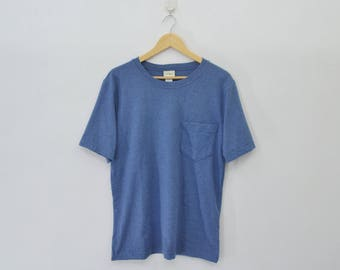 L.L. BEAN Shirt Vintage 90's L.L. BEAN Plain Blue Pocket Tee Made In Usa T Shirt Size Small