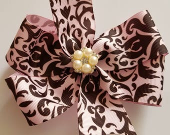 Pink and brown damask bow, girl accessories, hairbow, boutique bow, pinwheel bow, elegant bow, fancy bow