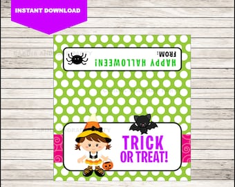 Witch Halloween Bag Toppers - Halloween Birthday Bag Toppers - Halloween Bag Labels - Halloween Treat Bags - Halloween Treat tags