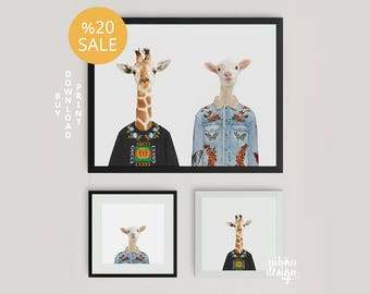 Animal Fashion Gucci Wear Animal Printable Nursery Prints Set of 3 Animals Nursery Decor Mini Portrait of Animals Instant Download