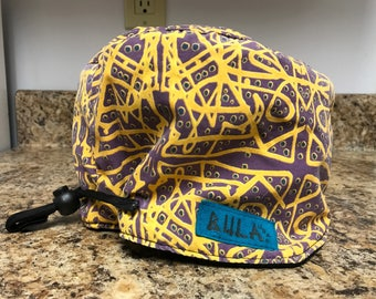 Vintage 1980's snow cap by BULA Crazy design and pattern purple and yellow zig zags One size Winter beanie Ski cap 80's