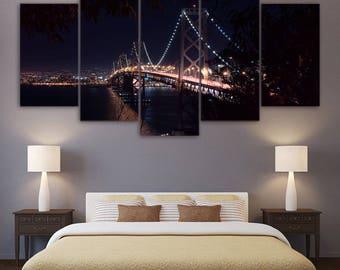 San Francisco Canvas Art. San Francisco Wall Art, San Francisco 5 Piece Canvas Print, San Francisco Wall Decor, Framed