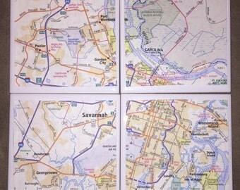 Savannah, Georgia Map Coasters, Set of 4 coasters, Map Gift, Map Tiles, Great Gift Idea