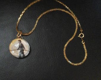 """Steampunk Necklace, Tight Rope Walker Glass Cabochon on 16"""" Chain"""