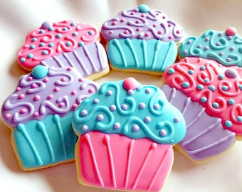 Birthday Cookies - Decorated Sugar Cookies - Birthday Cupcakes - Cupcake Cookies - Cookie Gift - Birthday Party Favors - Cookie Favors